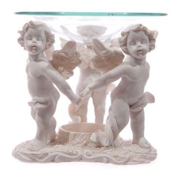 10cm Tall IVORY 3-CHERUBS HOLDING HAND Oil Burner