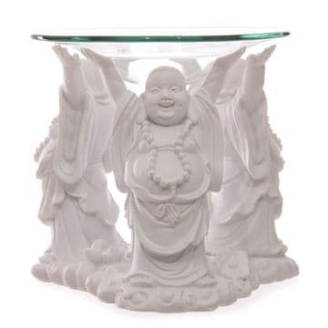 11cm Tall WHITE 3-FAT LAUGHING BUDDHA Oil Burner