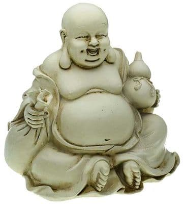 13cm Happy Buddha Holding Money Bag & Gourd Cream Shabby Chic