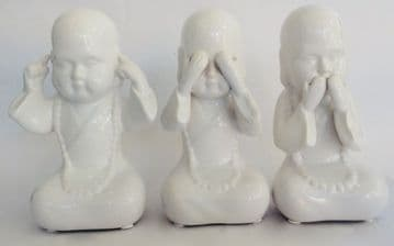 14cm Tall 3 WISE MONKS Hear See Speak No Evil Ornaments