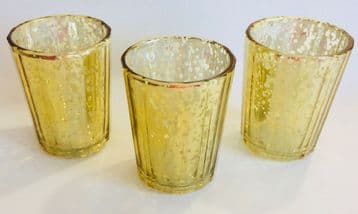 6x Mercury Glass VOTIVE Tea Light Candle Holder Set - CHAMPAGNE SPECKLED