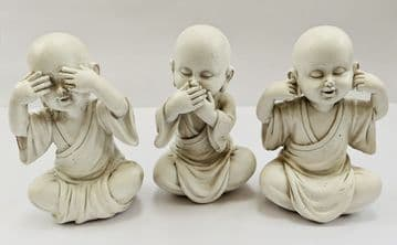 9cm Tall 3 WISE MONKS Hear See Speak No Evil Ornaments