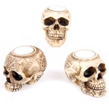 A Set of 3x Tea Light Holder Gothic Skull Head Skeleton Nemesis