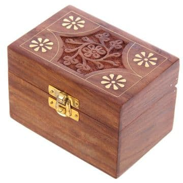 "AROMATHERAPY BRASS 4.5x3.25"" FLORAL Curved Hold 6 Bottle Oils Box"
