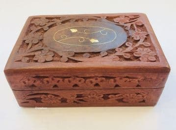 "BRASS & CARVED 6x4"" FLORAL Jewellery Trinket Memory Keepsake Box"