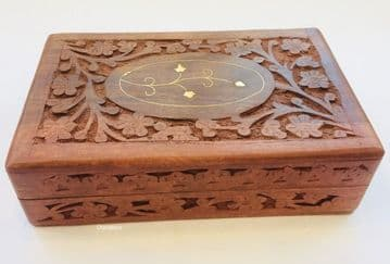 "BRASS & CARVED 8x5"" FLORAL Jewellery Trinket Memory Keepsake Box"