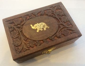 "BRASS & CARVED ELEPHANT 6x4"" Jewellery Trinket Box"