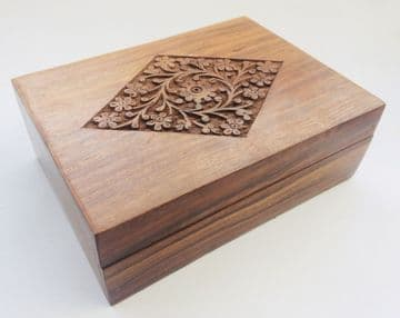 "CARVED 7x5"" FLORAL DIAMOND Jewellery Trinket Box"