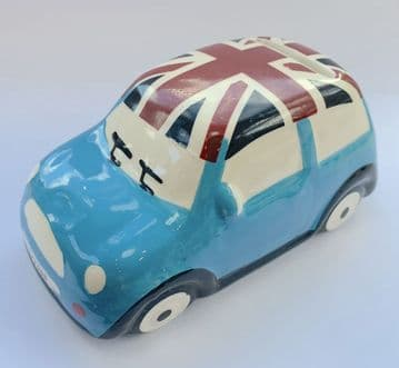 Ceramic Children Kid Money Box Saving Pot Piggy Bank Fund - MINI CAR BLUE