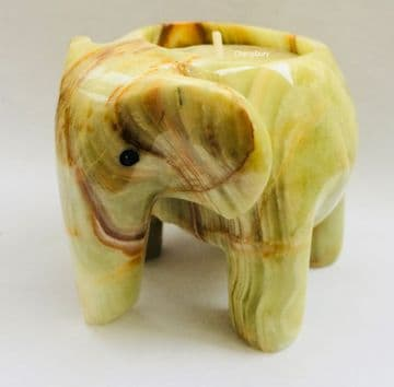 ELEPHANT Tea Light Holder 7cm Tall ONXY STONE Marble Decorative Ornament