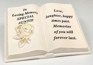 Memorial BOOK with Tribute Verse - ROSE Design SPECIAL AUNTIE