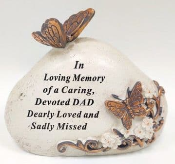 Memorial STONE with Tribute Verse - BUTTERFLY Design DEVOTED DAD