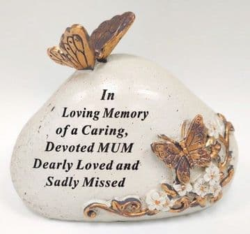 Memorial STONE with Tribute Verse - BUTTERFLY Design DEVOTED MUM