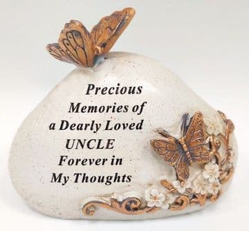 Memorial STONE with Tribute Verse - BUTTERFLY Design LOVED UNCLE