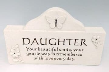 MESSAGE Plaque with BUTTERFLY -  DAUGHTER