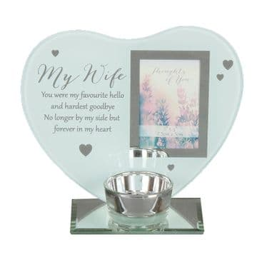My WIFE Heart Message Plaque/Photo Frame/T-Lite Holder THOUGHTS of YOU  62197