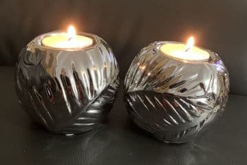 Pair of Silver BALL ROUND SPHERE TEA LIGHT Holder Ornament Decor - LEAF