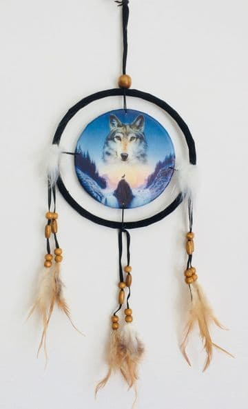 Printed DREAM CATCHER Small Diameter 9cm - Cosmic Wolf