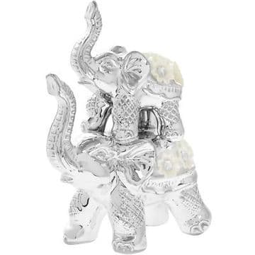 Silver Floral Diamante Figurine Ornament  - 18cm Tall Elephants Truck Up Stacked in Tower