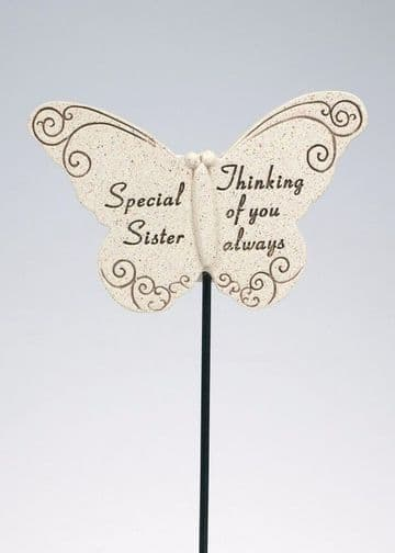 Special SISTER Butterfly Sentimental Memorial Grave Stick DF13264K