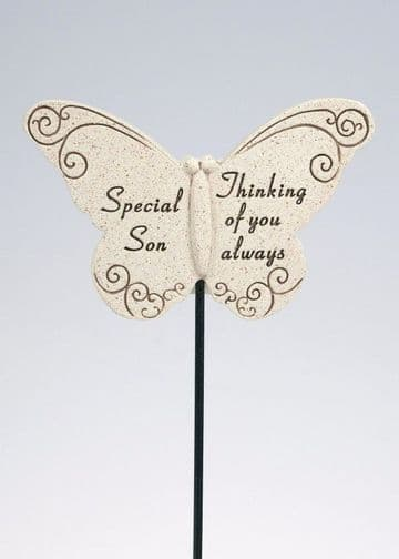 Special SON Butterfly Sentimental Memorial Grave Stick DF13264H