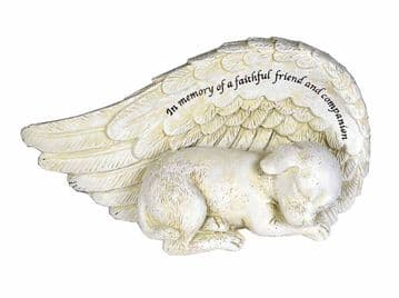 WING ANGEL DOG Lying  Grave Stone  Ornament 77308