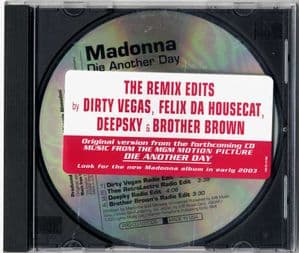 DIE ANOTHER DAY (THE REMIX EDITS)  - USA 4 TRACK PROMO CD