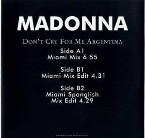 DON'T CRY FOR ME ARGENTINA - UK PROMO  12