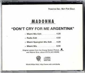 DON'T CRY FOR ME ARGENTINA - USA 4 TRACK PROMO CD
