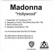 HOLLYWOOD - UK 4 TRACK PROMO CD ACETATE
