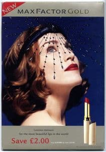 MAX FACTOR GOLD LIPSTICK - UK PROMO COUNTER DISPLAY