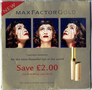 MAX FACTOR GOLD LIPSTICK - UK PROMO COUNTER DISPLAY STAND