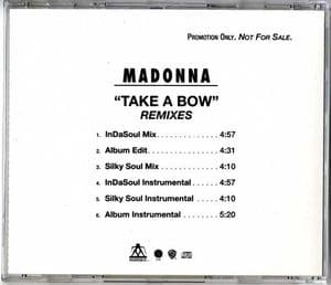 TAKE A BOW (REMIXES)- USA 6 TRACK PROMO CD