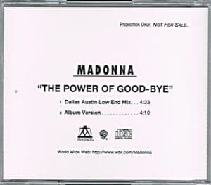THE POWER OF GOOD-BYE - USA 2 TRACK PROMO CD
