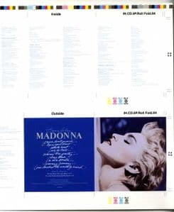 TRUE BLUE CD - USA ORIGINAL PROMO ARTWORK PROOF