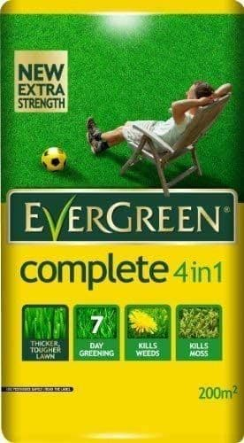 Evergreen 4 In 1 Lawn Care Bag Coverage: 200m2 (240yds2) Kills Weeds Moss