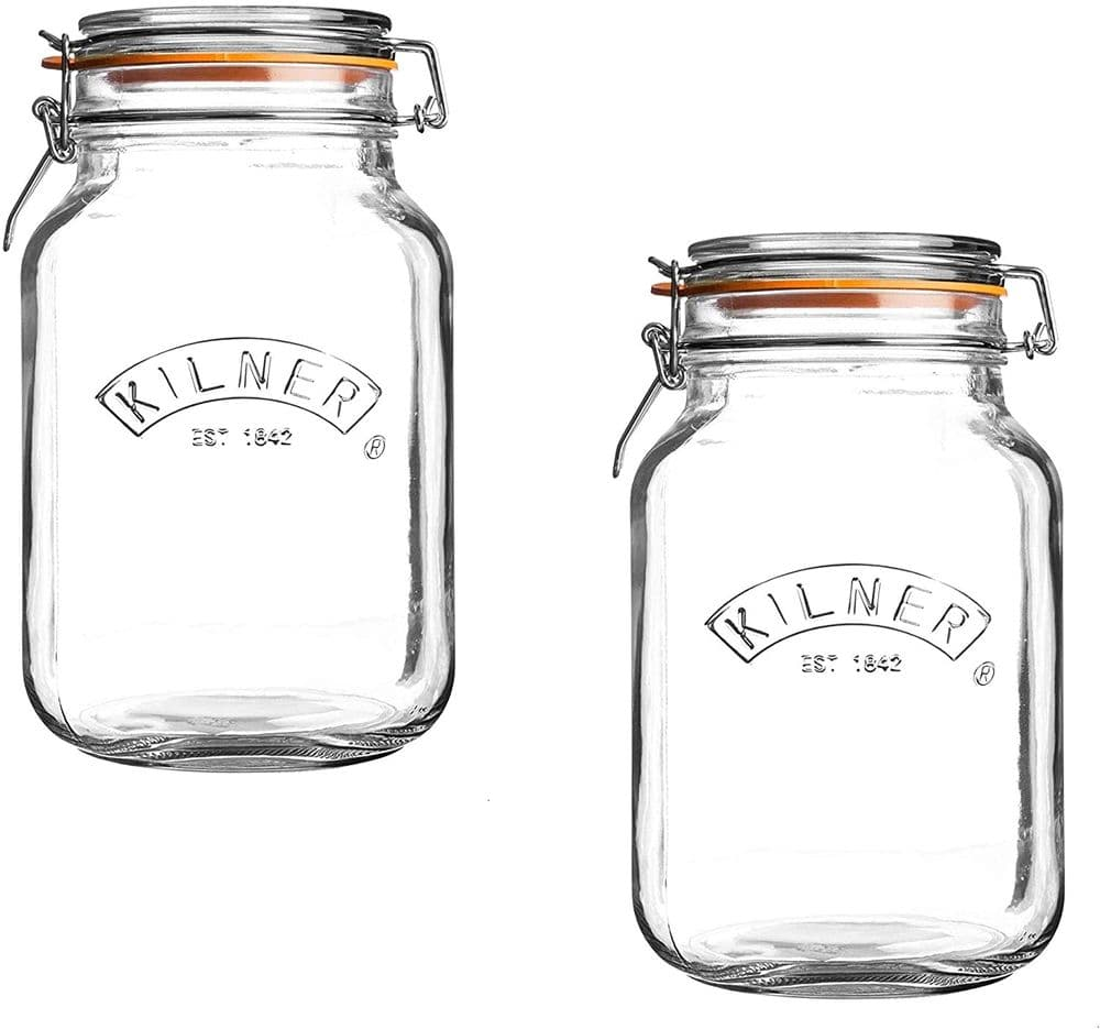 Kilner Square Glass Top Jar with Rubber Seal and Stainless Steel Clip, 1.5 Litre - 2 Pack
