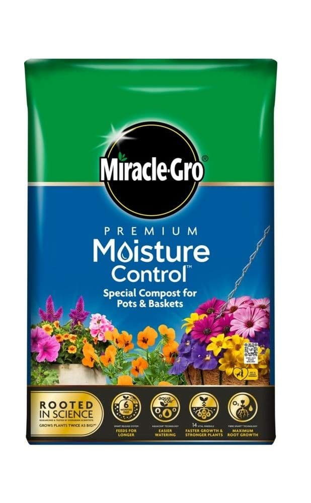 Miracle-Gro Moisture Control Enriched Compost Miracle Gro Pots Baskets 40L