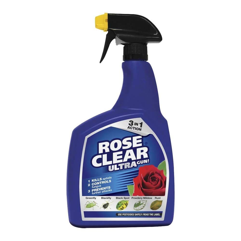 Rose Clear Ultra Gun Fungicide & Insecticide Spray 1 Litre Fights Blackspot & Rust (1 Bottle)