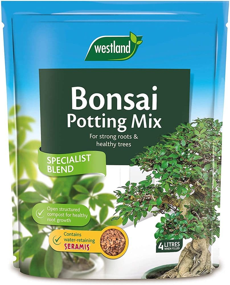 Westland 10200055 Bonsai Potting Compost Mix and Enriched with Seramis, 4 Litre, Brown