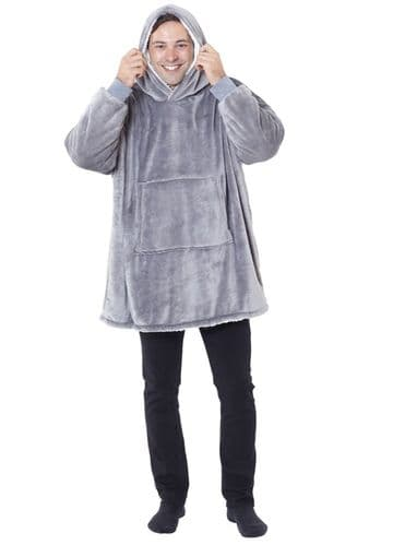 Embroidered Oversized Sherpa Hoodie