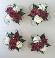 4 X FLOWERS BURGUNDY IVORY WEDDING CAKE TOPPER TABLE DECORATION BOWL CENTREPIECE