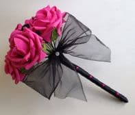 ARTIFICIAL BLACK/HOT PINK DIAMANTE FOAM ROSE WEDDING FLOWER GIRL BOUQUET WAND
