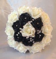 ARTIFICIAL BLACK/IVORY FOAM ROSE WEDDING FLOWERS BOUQUET BRIDESMAID