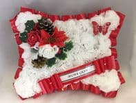"ARTIFICIAL CHRISTMAS PILLOW WREATH FLOWERS MEMORIAL GRAVE RED WHITE ""ANY NAME"""