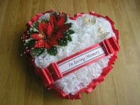 ARTIFICIAL CHRISTMAS WREATH FLOWER HEART MEMORIAL GRAVE RED POINSETTIA CEMETERY