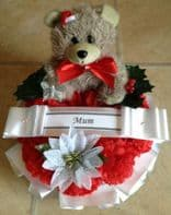 ARTIFICIAL CHRISTMAS WREATH RING FLOWERS MEMORIAL GRAVE BABY RED SANTA HAT TEDDY