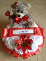 ARTIFICIAL CHRISTMAS WREATH RING FLOWERS MEMORIAL GRAVE BABY RED TEDDY SANTA HAT