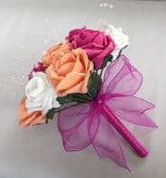 ARTIFICIAL FLOWERS IVORY HOT PINK APRICOT FOAM ROSE WEDDING BRIDESMAID BOUQUET