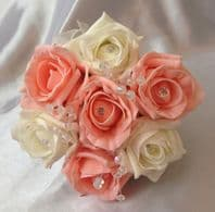 ARTIFICIAL FLOWERS IVORY PEACH FOAM ROSE FLOWER GIRL WEDDING BOUQUET POSIE